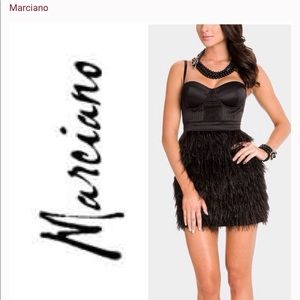 Marciano Classic Ostrich Feather Corset Dress
